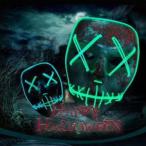 BRELONG Led Masque Halloween Party Masque Masquerade Masques Neon Maske Lumière Lueur Dans Le Noir Mascara Horreur Maska Rougeoyant Masker
