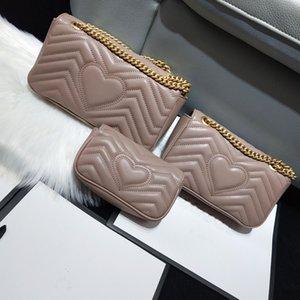 Diseñador diseñador-Mujeres Marmont bolsos del bolso de alta calidad del patrón suave bolsos bolsos de las señoras del cuero auténtico hombro Corazón V Wave Crossbody