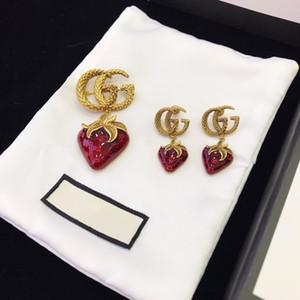 Europäische und amerikanische custom letters strawberry Epoxy stilvolle designer Ohrringe