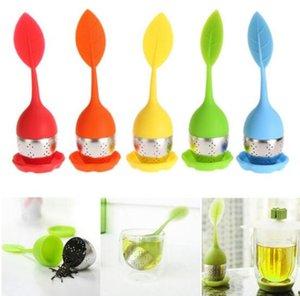 Silikon-Tee-Ei-Blatt-Silikon-Ei mit Nahrungsmittelgrad bilden Teebeutelfilter kreatives Edelstahl-Teesieb DHL geben Verschiffen frei