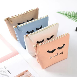 Pink Handbag Kawaii Eyelashes Cosmetic Bag PU Makeup Pouch Beauty Case Vanity Makeup Bag for Women Travel Organizer Kit VT0269