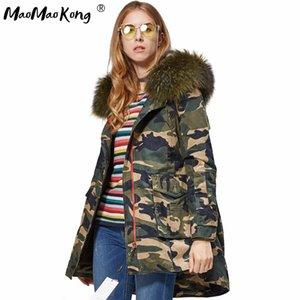 MAOMAOKONG 2016 Artı boyutu Palto Kadınlar Ceketler Gerçek Büyük Rakun Kürk Yaka Kalın Bayanlar Aşağı Parkas asker yeşili MX191102