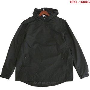 Plus Size Homens Casacos com capuz Out Door Outwear Windproof Coats Big 9XL 10XL Jackets Man 150KG 160KG solto Red 60 encostar Coats