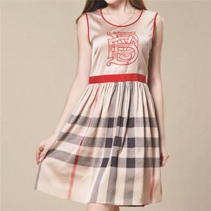 Primavera verano de las mujeres vestidos de diseñador para mujer Marca mangas de los vestidos del lápiz de cuello redondo de verano de lujo Moda Cartas Camisa vestidos 2041303V