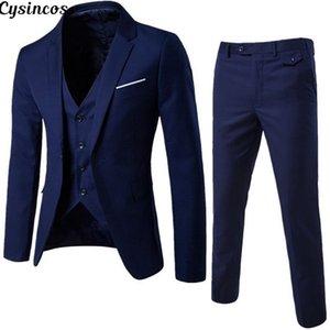 CYSINCOS 2019 Erkekler Moda İnce Erkek İş Casual Giyim Sağdıç Üç parça Suit Blazers Ceket Pantolon Setleri Takımlar
