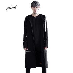 Guo Chao-Tang 2019 Nueva inconformista otoño Hip-hop sólido color de la capa con capucha floja del envío de la manopla de la cremallera Abrigo gota Streetwear
