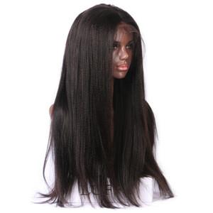 Baş yapımı dantel ön Peruk ve tam dantel yaki düz İnsan saç peruk ile bebek saç Tutkalsız için Özelleştirilmiş Siyah kadınlar için Ücretsiz Kargo