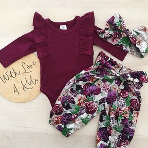 Foral Girl Set Kids Clothes Children Summer Outfit Long Sleeve Purple Girl Romper+ Kids Pants