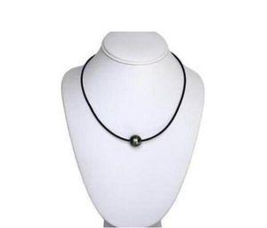 Бесплатная доставка 12 мм натуральный таитянский Черный жемчуг ожерелье кожи