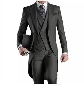New Fshion Custom Made Peaked Lapel Business Wears Handsome Formal Tailcoat Groom Tuxedos Groomsman Suits (Jacket+Pants+vest)