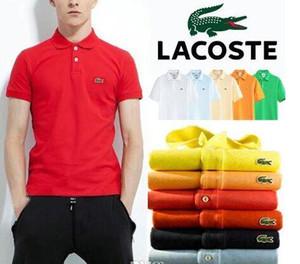 2201-5 croco manga curta Mens Polo Shirts Botão Slim Fit Verão Casual Camisas Polo Homens Marca Preto Roxo Vermelho Branco Tamanho 6XL