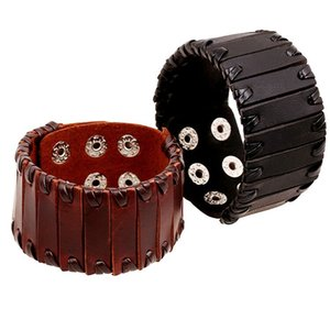 2020 European and American woven men's European accessories punk retro multi-layer titanium ultra-high quality steel brown leather bracelet