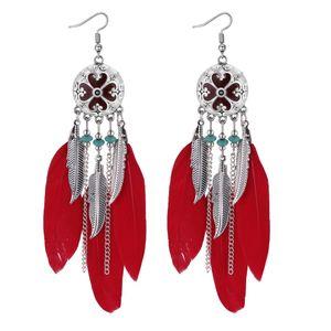 Longo Feather Brinco folha borla brinco anéis de orelha brincos de jóias mulheres retro brincos jóias vontade e do navio da gota de areia