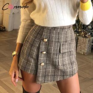 inverno mulheres Conmoto vintage xadrez outono Skort senhoras elegantes bolsos altos Skorts cintura senhoras da alta moda OL