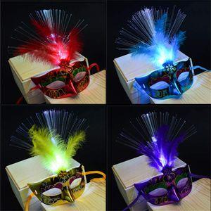 Glühende Fiber Maske Halloween Masquerade führte Prinzessin Feder-Masken-Party-Masken-Dekoration glühender Maske Kleines Spielzeug