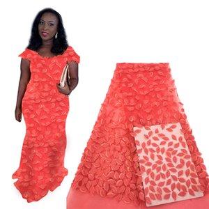 Новый дизайн Розовый African 3D Flower Lace Fabric 2020 французский Швейцарский тюль кружева для свадебного банкета нигерийской ткани