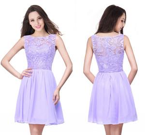 2020 En stock Lilas en mousseline de soie à court Robes pas cher Backless dentelle Appliqued Cocktail robe de bal Mini robes de soirée CPS164