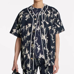 19FW Flowering Branch Baseball Shirt Wheat Ear Short Sleeved Shirts Tee Benim Fashion Sandy Beach Casual Street Men Women HFHLCS027