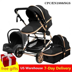Luxurious Baby Stroller 3 in 1 Portable Travel Baby Carriage Folding Prams Aluminum Frame High Landscape Car for Newborn