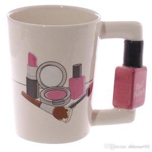 여성 선물을위한 창조적 인 세라믹 머그컵 소녀 도구 뷰티 키트 스페셜 매니큐어 핸들 차 커피 머그컵 맞춤 머그컵