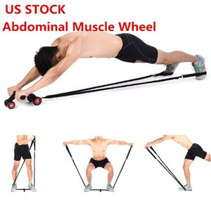 US STOCK, Abdominal Muscle Wheel Auxiliary Pull Rope Gym Fitness Ab Roller Resistance Bands Fitness Equipment dropshipping FY7048