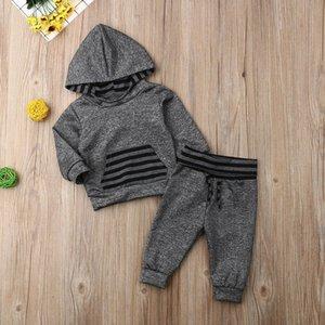 Nova Queda Casual Bebê Recém-nascido Roupas de Bebê Menino Com Capuz Tops Moletom Calças Leggings Outono Inverno Roupas Conjunto