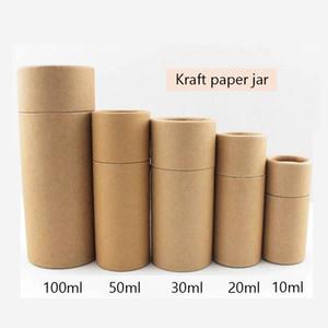10pcs cosmética botella de empaquetado de papel Kraft Jar Tubo Box cilíndricos duros cajas de cartón Los aceites esenciales Tubo Paquete