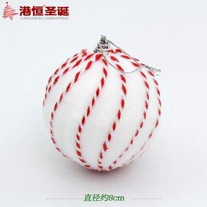 """Bola de Natal listrado branco 8/10 centímetros (3,15 / 3,94"""" ) Delicate Foam Árvore da decoração do Natal do partido do Xmas Ornamento Fontes MCB044"""