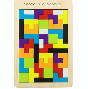 Colorful Wooden D Tetris Puzzle Tangram Color and Shape Jigsaw Puzzle Developmental Learning Toys Children puzzle tetris Sliding Blocks