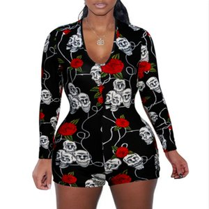 New popular party skull jumpsuit shorts female European and American sexy deep V-neck long-sleeved printed jumpsuit