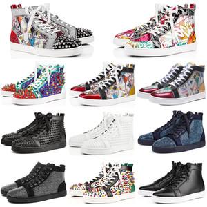 Les meilleurs designers Qualité de luxe rouge clouté Bas Pointe Chaussures femmes sport occasionnels Marque Hommes Femmes Sports Party amant Sneakers 36-48