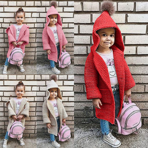 Kids Girl Sweater Coat Solid Hooded Pockets Autumn Winter Coat Kids Casual Clothes Girls Child Winter Outwear 07