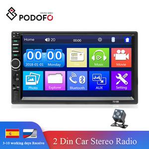 """Podofo 2din 자동 라디오 자동차 오디오 스테레오 7 """"HD 터치 스크린 비디오 MP5 플레이어 블루투스 라디오 지원 후면 카메라 MirrorLink"""
