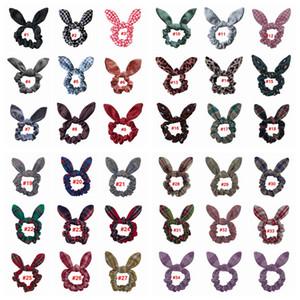 Buffalo Bandeaux Plaid lapin oreille Chouchous Leopard dot queue de cheval titulaire Bandeaux fille élastique noeud Bow Hair Bands Robe LJJA3740