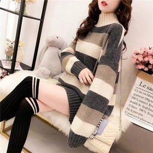 Half-turtleneck jumper fall or Winter new stripes thin loose indolent instagram blazer