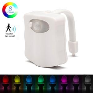LED-WC-Sitz-Nachtlicht 8 Farben Smart-PIR Bewegungs-Sensor-WC helle batteriebetriebenes Hintergrundbeleuchtung für WC