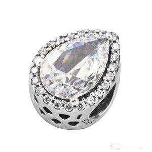 Auténticos 925 radiante en forma de lágrima de la manera encanta los granos de plata esterlina joyería Se adapta a Pandora pulseras para las mujeres