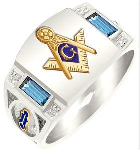 Moda prata liga de ouro dos homens maçom regalia maçônica anéis jóias maçonaria anel itens baratos por atacado