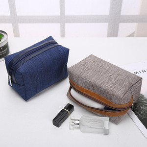 Portable Cosmetic Bag Simple Square Make Up Bags Commute Storage Customized Logo Zipper Handbag Home Furnishing 18*9.5*11cm