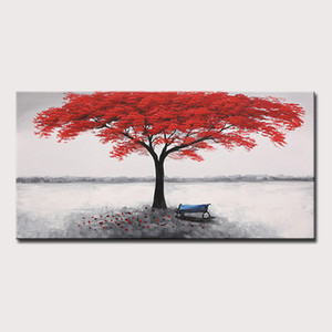 Mintura Art Large Size Hand Painted Red Tree Oil Painting on Canvas Modern Abstract Wall Picture Poster For Home Decor No Frame