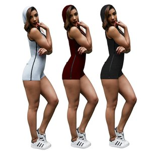 2019 diseñador de verano con capucha Bodysuits sin mangas con cremallera con cuello en V Mujeres Curve Night Club Bodysuits Holy Sexy Sport Jumpsuits al por mayor