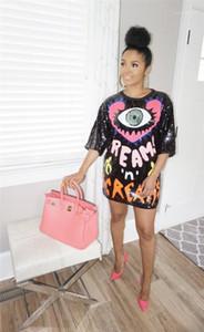 Decoración para mujer camiseta vestidos diseñador impresión A-Line vestido de verano suelto moda señoras Casual Mini vestidos lentejuelas