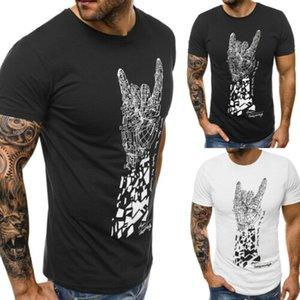 Новая мода горячие продажи мужчины Finger-print O-образным вырезом с коротким рукавом Slim Fit футболки топы лето повседневная повседневная удобная одежда M-XXL