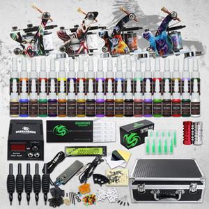 전체 문신 키트 4 기계 총 40 색상 잉크 전원 공급 바늘 팁 그립 설정 D120GD-16