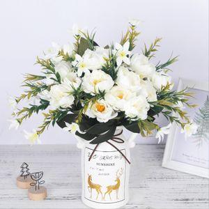 만든 웨딩 장식 싼 작은 가짜 꽃 홈 장식 DIY 고품질의 중국어 인공 모란 꽃 실크 꽃다발