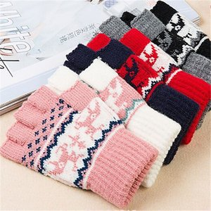 Half finger Christmas gloves Christmas elk love ly thicken warm wool new style Autumn And Winter
