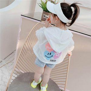 2020 New Boys and Girls Sunscreen Coat Love Heart Long Sleeve Thin Overcoat White Yellow Kid Jacket YF003