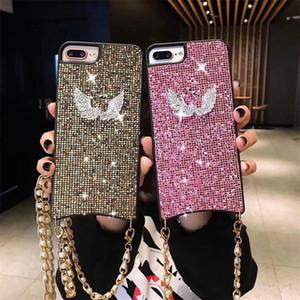Diamant Etui En Plastique Dur Pour PC Iphone XS Max XR 8 7 6 Plus Shinnig Swan Téléphone Cas avec chaîne en métal