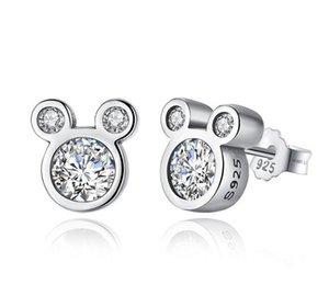 925 Sterling silver fancy cartoon mouse earrings animal stud earrings for kids fashion cubic zircon women earring