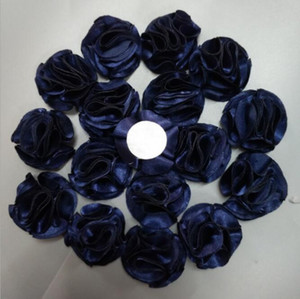 Diy 3.5cm Navy Blue Rose Flowers Satin Rose Ribbon Flowers DIY For Make Wedding Bouquet Flower Accessories Violet 150Pcs Bag